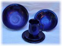 Keramik-Gedeck blau