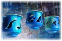 Keramik Teelicht-Hängelampe.