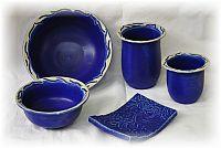 Keramikschalen-Vasen blau